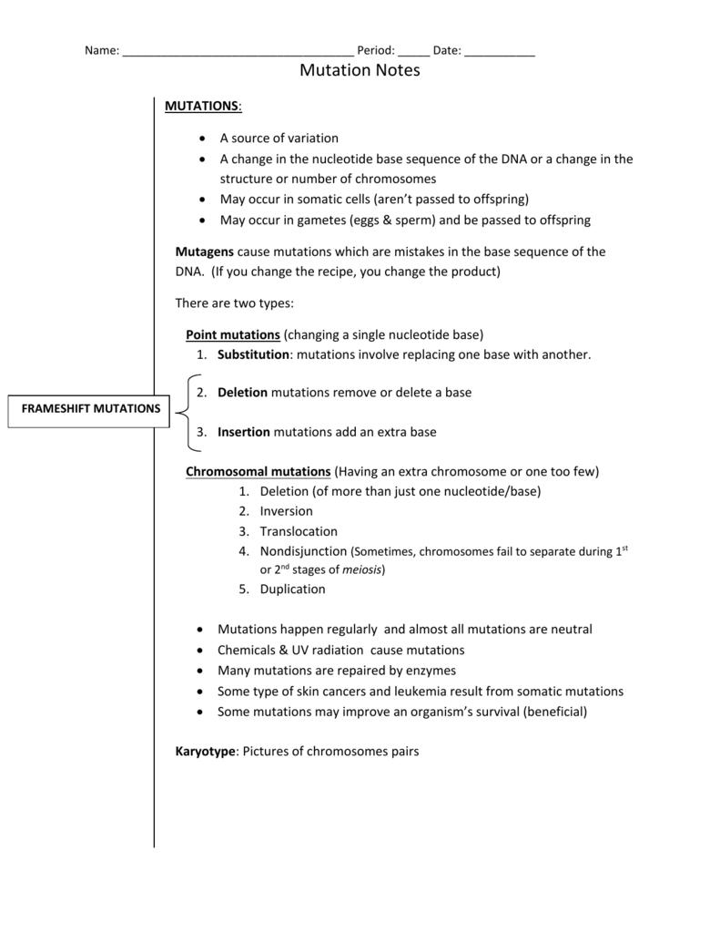 Name Period Date Mutation Notes FRAMESHIFT – Chromosomal Mutations Worksheet