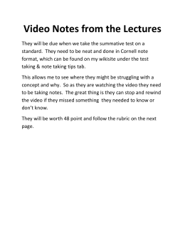 Video Notes from the Lectures