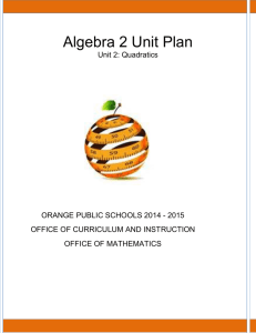 Algebra 2 Unit Plan - Orange Public Schools
