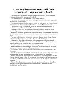 Pharmacy Awareness Week 2012: Your pharmacist