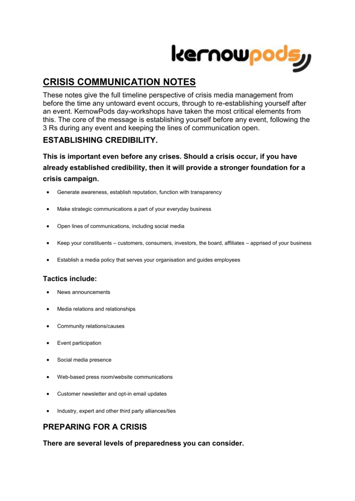 crisis communication notes