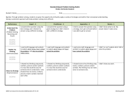 Standard-Based Problem Solving Rubric for K