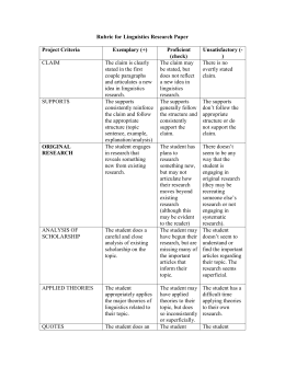 Rubric for Linguistics Research Paper