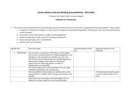 11. Summary Report IWG 1st Meeting Lithium Batteries March 18