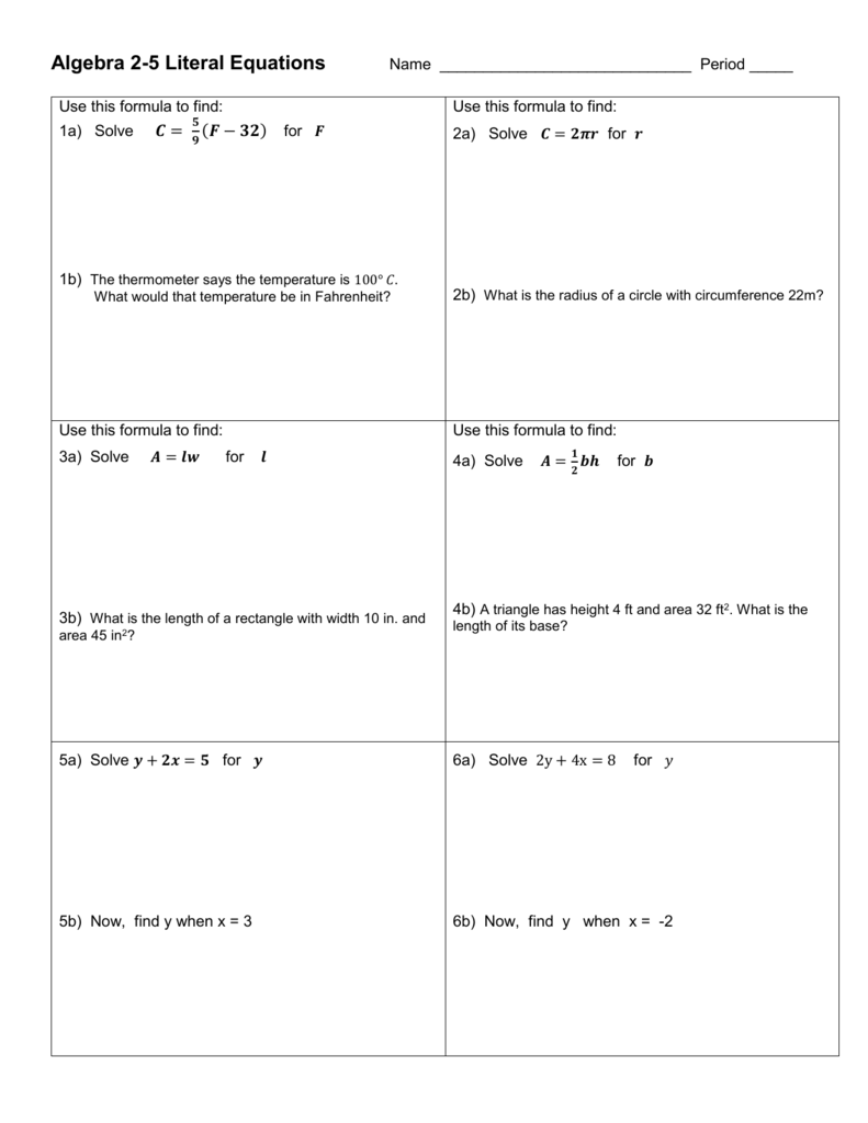 Algebra 225-25 Literal Equations Within Literal Equations Worksheet Answer Key