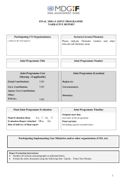 MDG-F Joint Programme Final Narrative Report Template