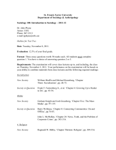 Soc 100 test outline - November 2011