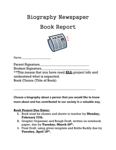 Tuesday, April 10 th . Newspaper Book Report