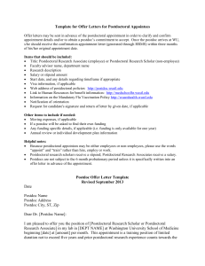 Postdoc Offer Letter Template