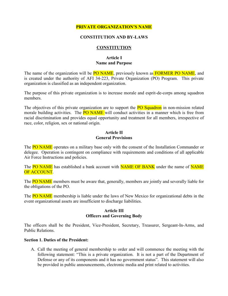 constitution bylaws template word doc. Black Bedroom Furniture Sets. Home Design Ideas