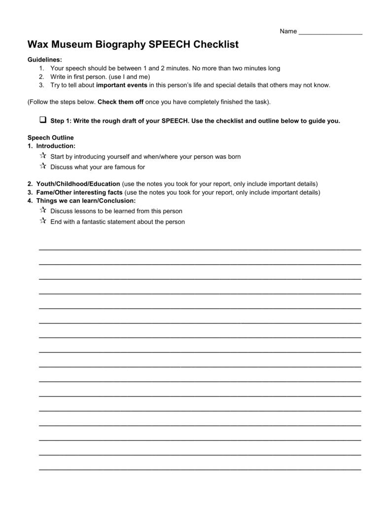 wax museum biography speech checklist