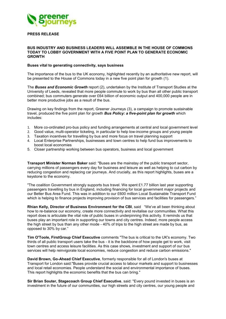 PRESS RELEASE Embargoed until 12 - Institute for Transport