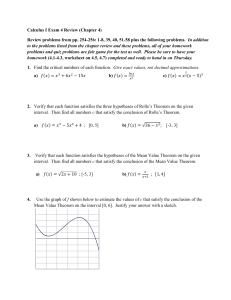 Calculus I Exam 4 Review (Chapter 4) Review problems from pp