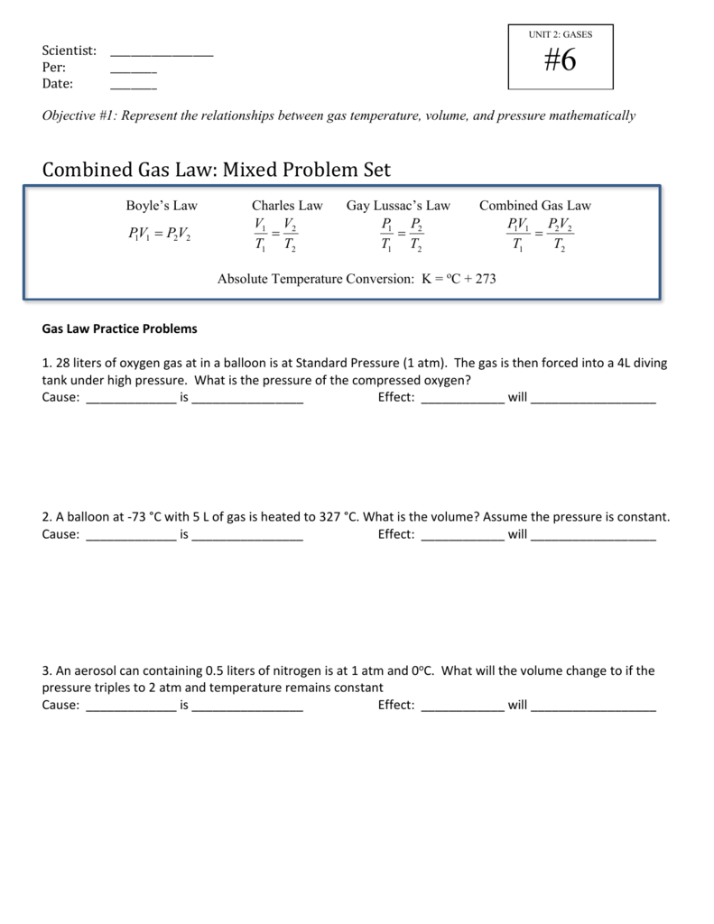 Combined Gas Law Practice