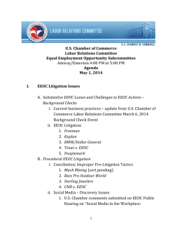 Agenda May 1, 2014 EEOC Litigation Issues Substantive EEOC