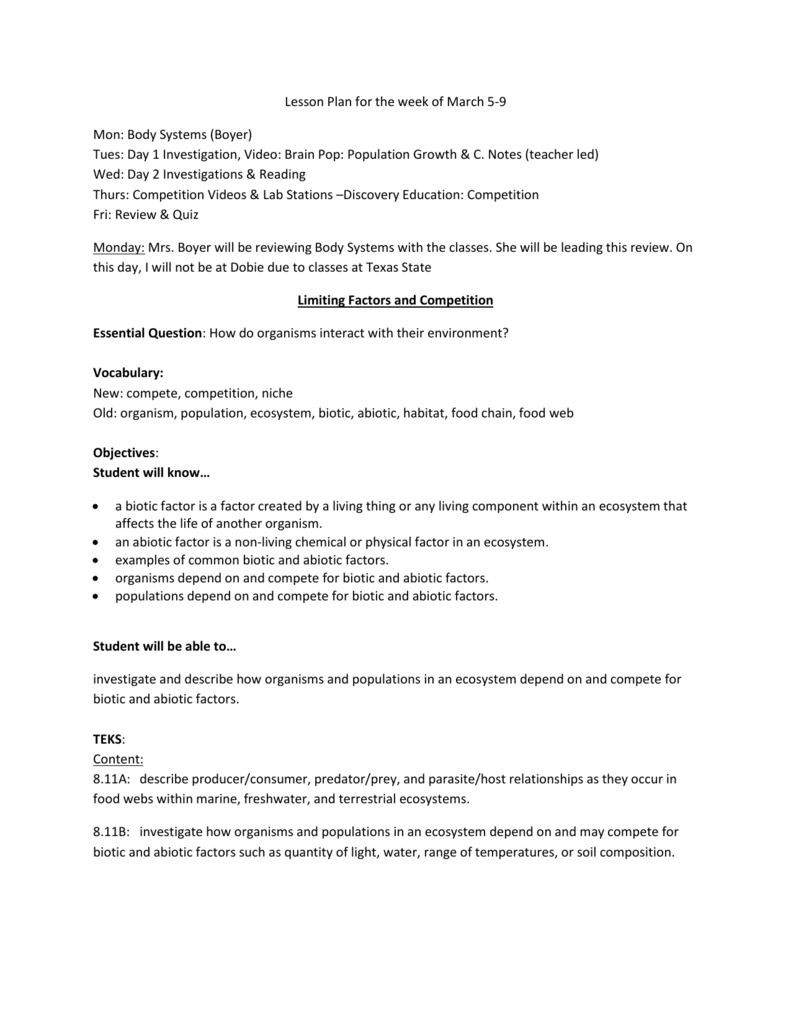 worksheet Biotic And Abiotic Factors Worksheet limiting factors lesson plan