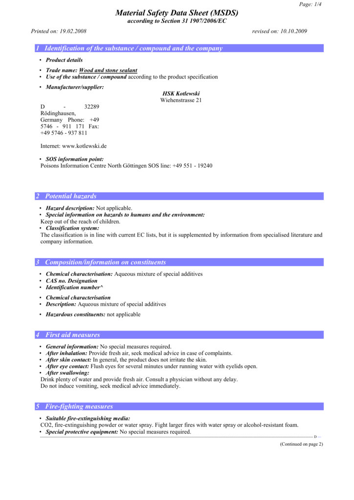 Material Safety Data Sheet Msds