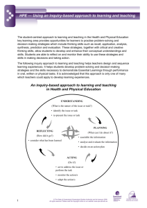 HPE - Using an inquiry-based approach to learning and teaching