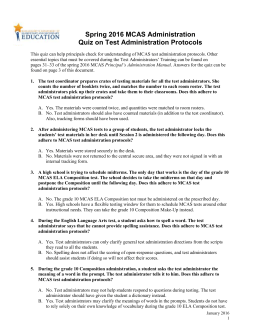 MCAS Test Administration Quiz on Test Administration Protocols, 2016