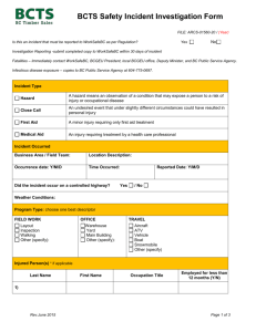 Appendix 1S Checklist 19-1: BCTS Contractor Safety (Pre