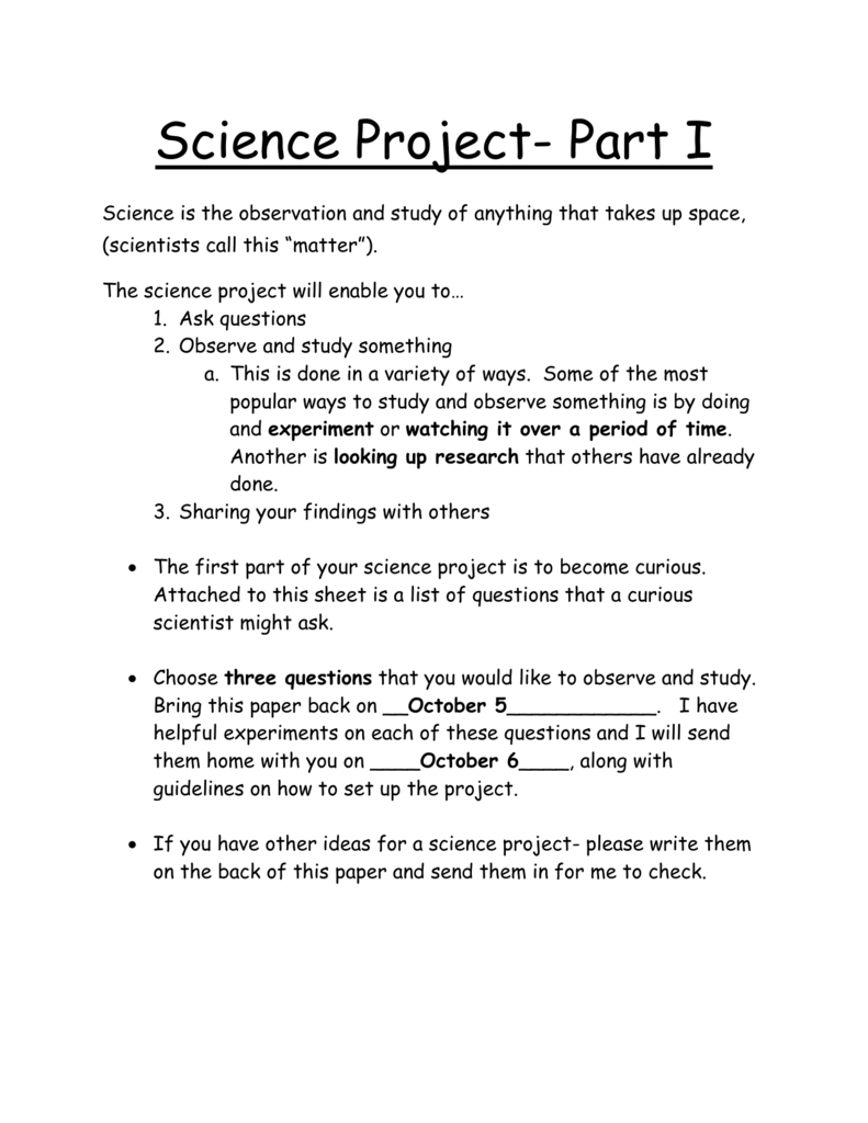 observation project ideas