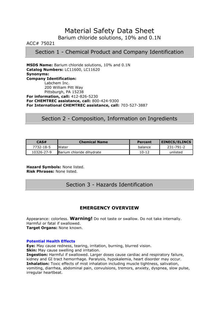 Material Safety Data Sheet Barium Chloride Solutions 10 And 01n