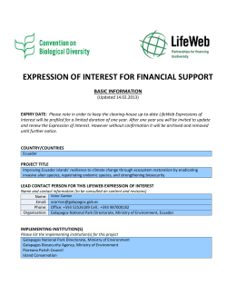 Expression of Interest - The LifeWeb Initiative