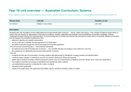 Year 10 unit overview * Australian Curriculum: Science