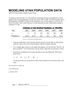 MAth 1010 Project 1 Population Data