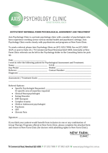 outpatient referral form psychological assessment and