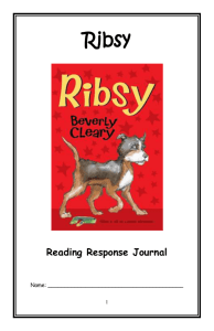 Ribsy Reading Response Journal