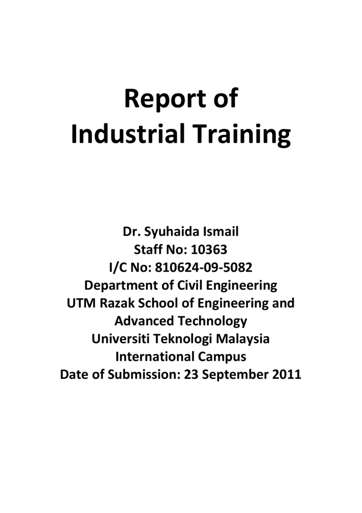 report on industrail training
