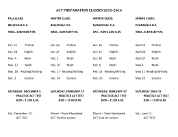 ACT PREPARATION CLASSES 2015-2016