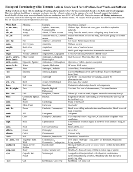 Biological Terminology (Bio Terms): Latin & Greek Word Parts