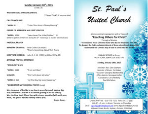 Sunday January 18 th , 2015 - St. Paul`s United Church, Aylmer