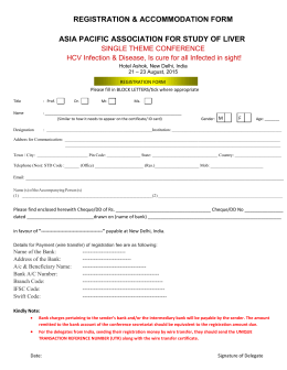 Registration form - asian pacific association for study of the liver