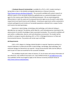 Graduate Research Assistantship - Agudelo and DeWalt labs 2016
