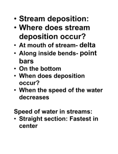 Stream deposition: Where does stream deposition occur? At mouth