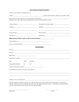 New client form - Muddy Branch Veterinary Center