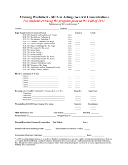 MFA Advising Worksheet [for students entering prior to Fall 2011]