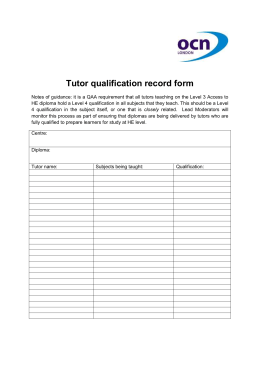 Tutor Qualification Record Form