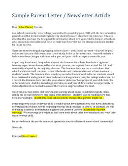 CCSS Sample Parent Letter - Oregon Department of Education