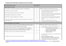Workplace Bullying Assessment Checklist - Stop Bullying Tool-Kit