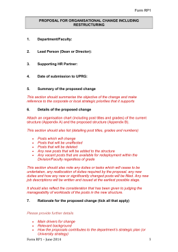 Form RP1 PROPOSAL FOR ORGANISATIONAL CHANGE