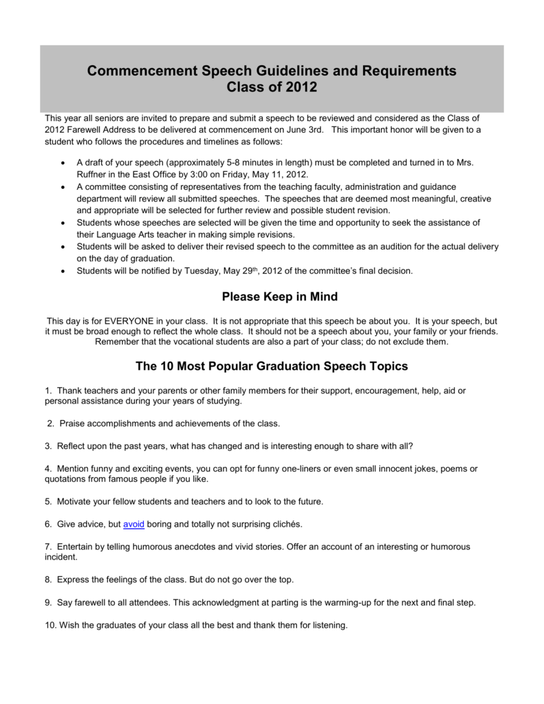 Commencement Speech Guidelines and Requirements