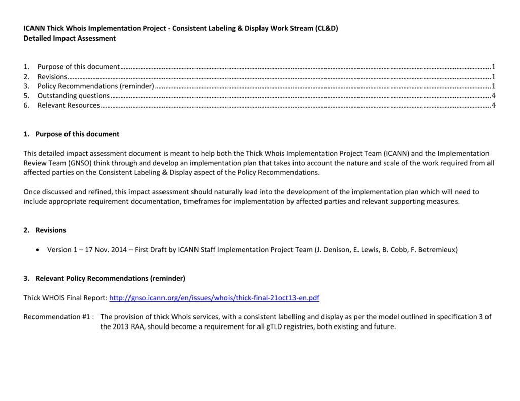 Thick Whois - Consistent L&D - Impact Assessment