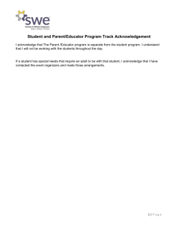 Student and Parent Educator Program Track Acknowledgement
