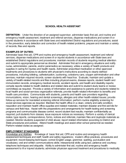 School Health Assistant [Spec]