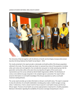 LAUNCH OF KENYA NATIONAL ORAL HEALTH SURVEY