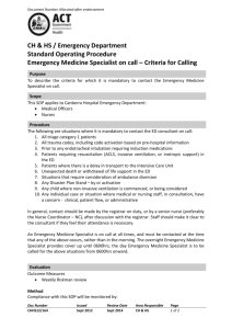 Emergency Medicine Specialist on Call - Criteria for